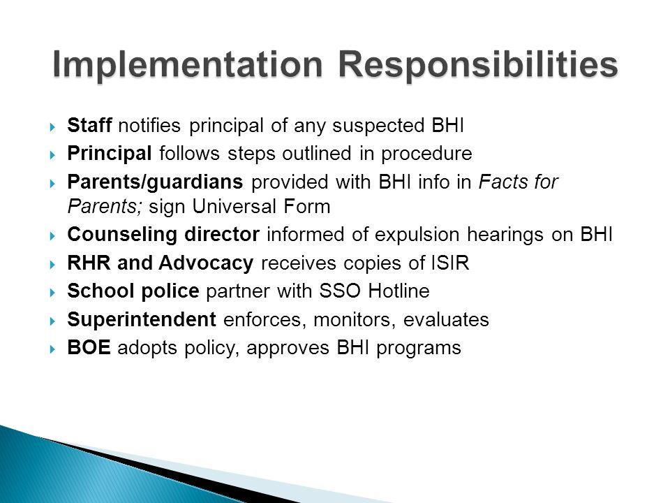Implementation Responsibilities