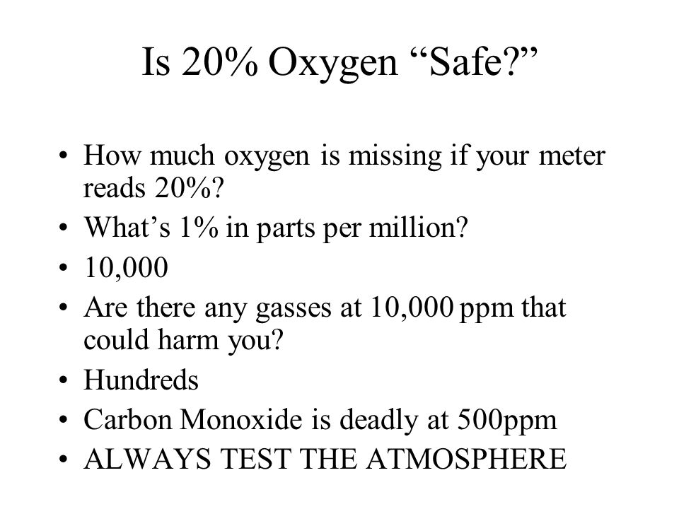 Is 20% Oxygen Safe How much oxygen is missing if your meter reads 20% What's 1% in parts per million