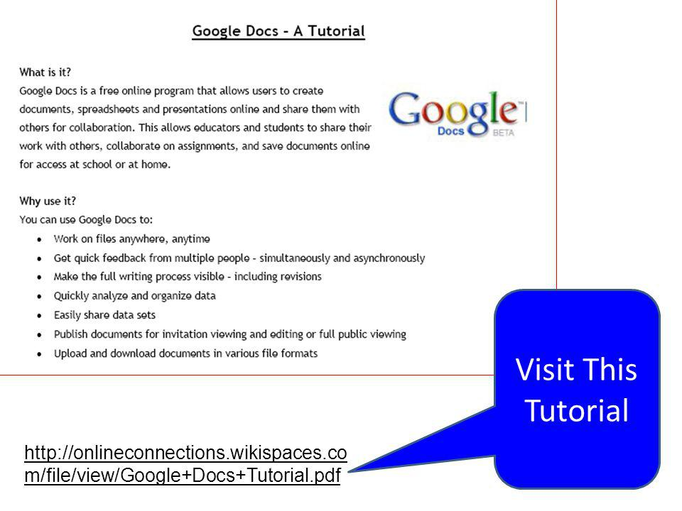 Visit This Tutorial http://onlineconnections.wikispaces.com/file/view/Google+Docs+Tutorial.pdf