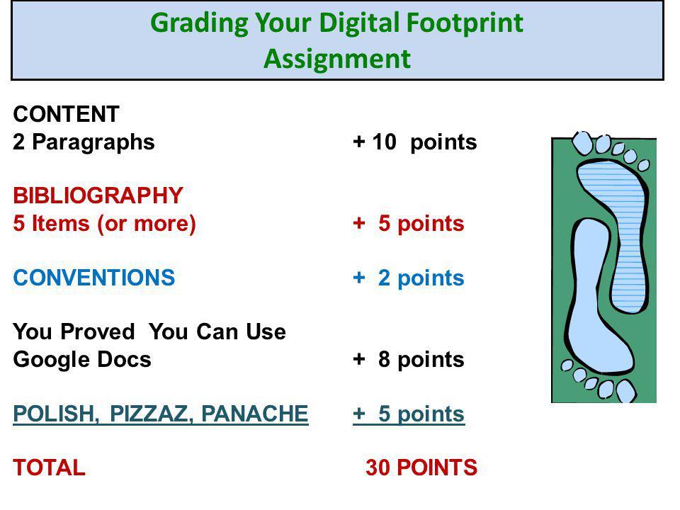 Grading Your Digital Footprint Assignment