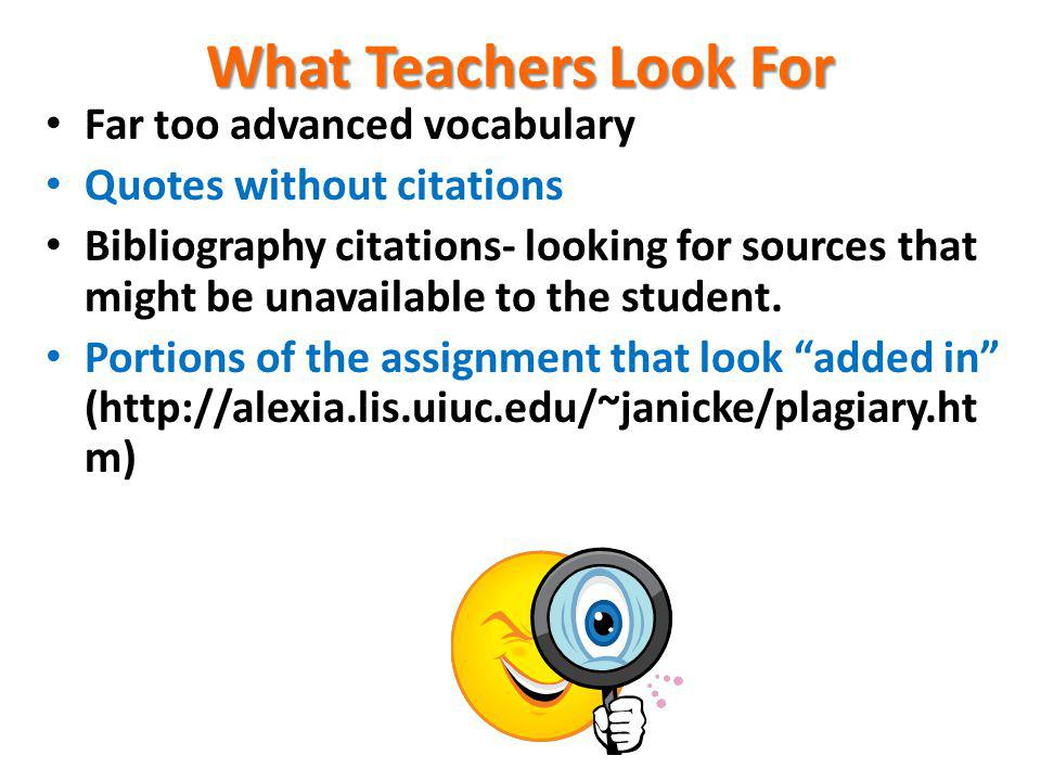 What Teachers Look For Far too advanced vocabulary