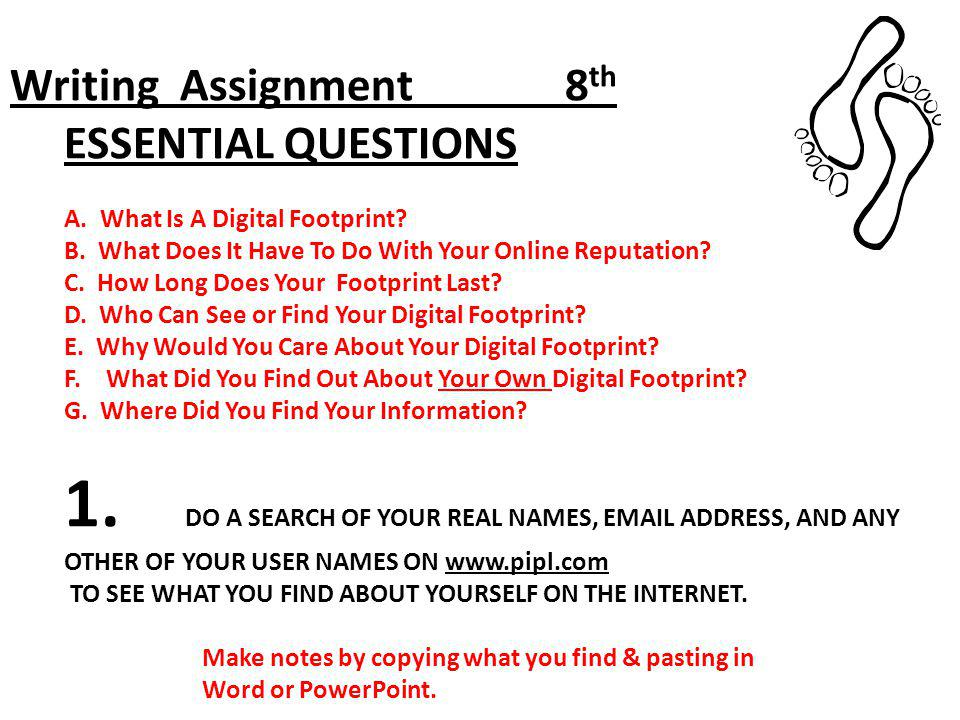 Writing Assignment 8th ESSENTIAL QUESTIONS A