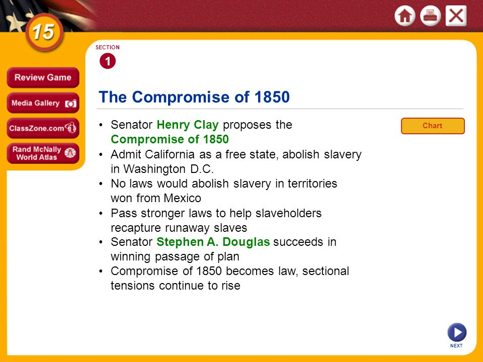 1 SECTION. The Compromise of 1850. • Senator Henry Clay proposes the Compromise of 1850. Chart.