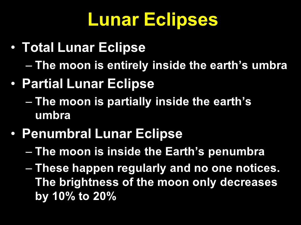 Lunar Eclipses Total Lunar Eclipse Partial Lunar Eclipse