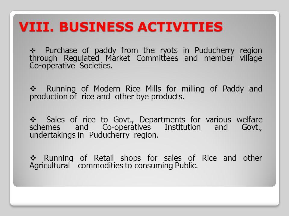VIII. BUSINESS ACTIVITIES