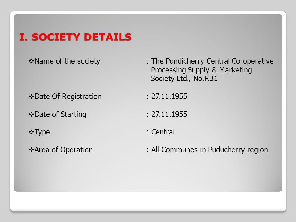 I. SOCIETY DETAILS