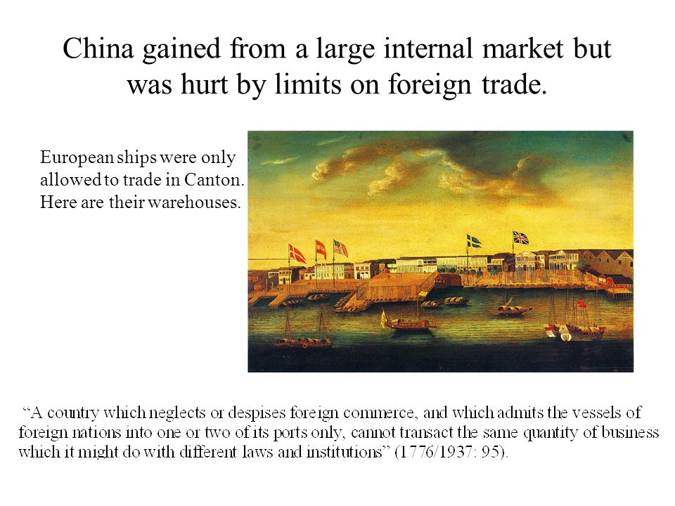 China gained from a large internal market but was hurt by limits on foreign trade.