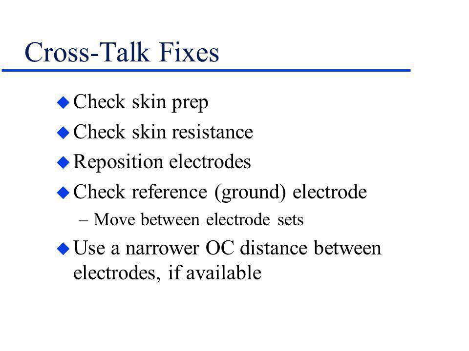 Cross-Talk Fixes Check skin prep Check skin resistance