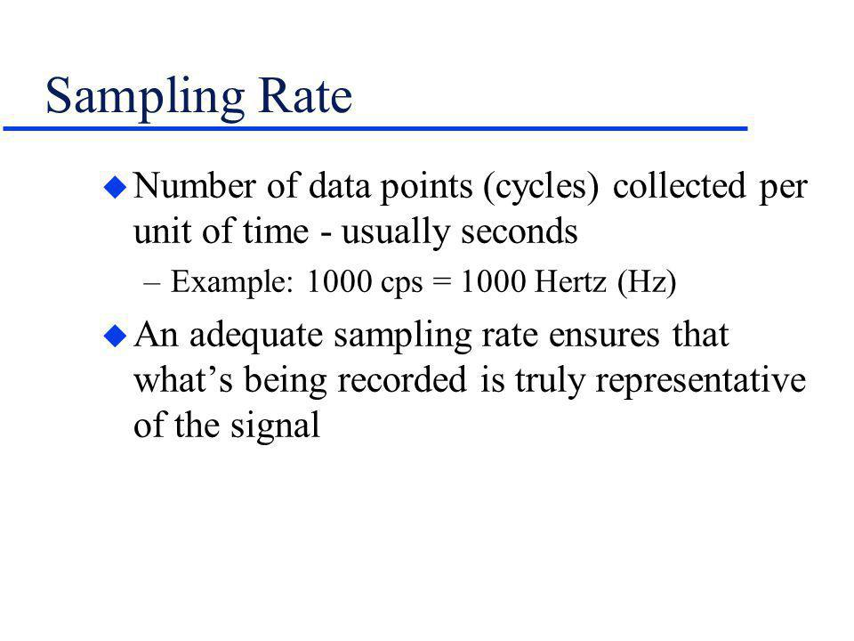 Sampling Rate Number of data points (cycles) collected per unit of time - usually seconds. Example: 1000 cps = 1000 Hertz (Hz)