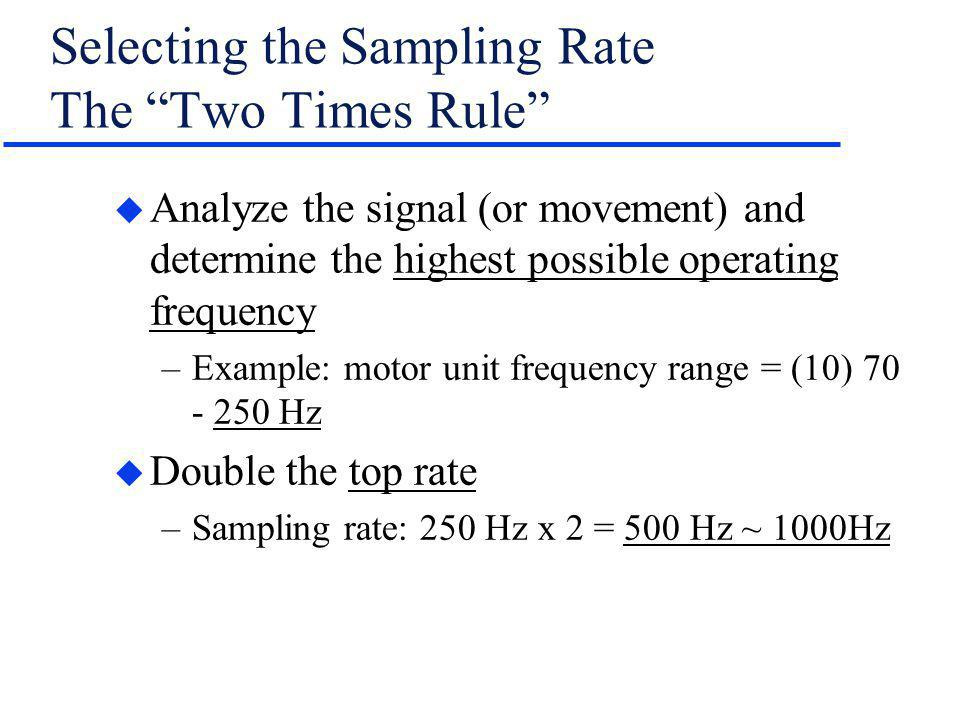 Selecting the Sampling Rate The Two Times Rule