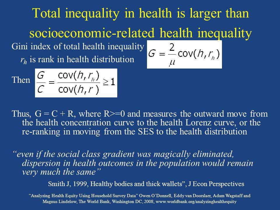 Smith J, 1999, Healthy bodies and thick wallets , J Econ Perspectives