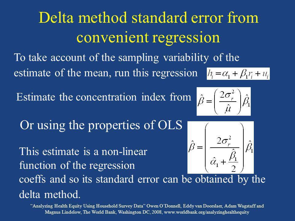 Delta method standard error from convenient regression