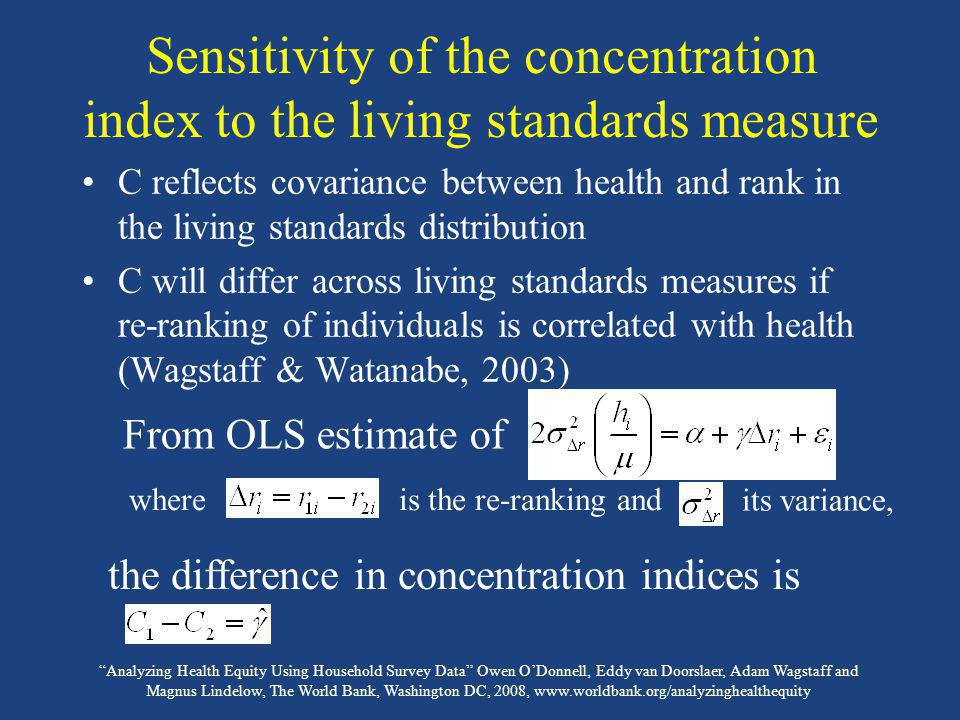 Sensitivity of the concentration index to the living standards measure