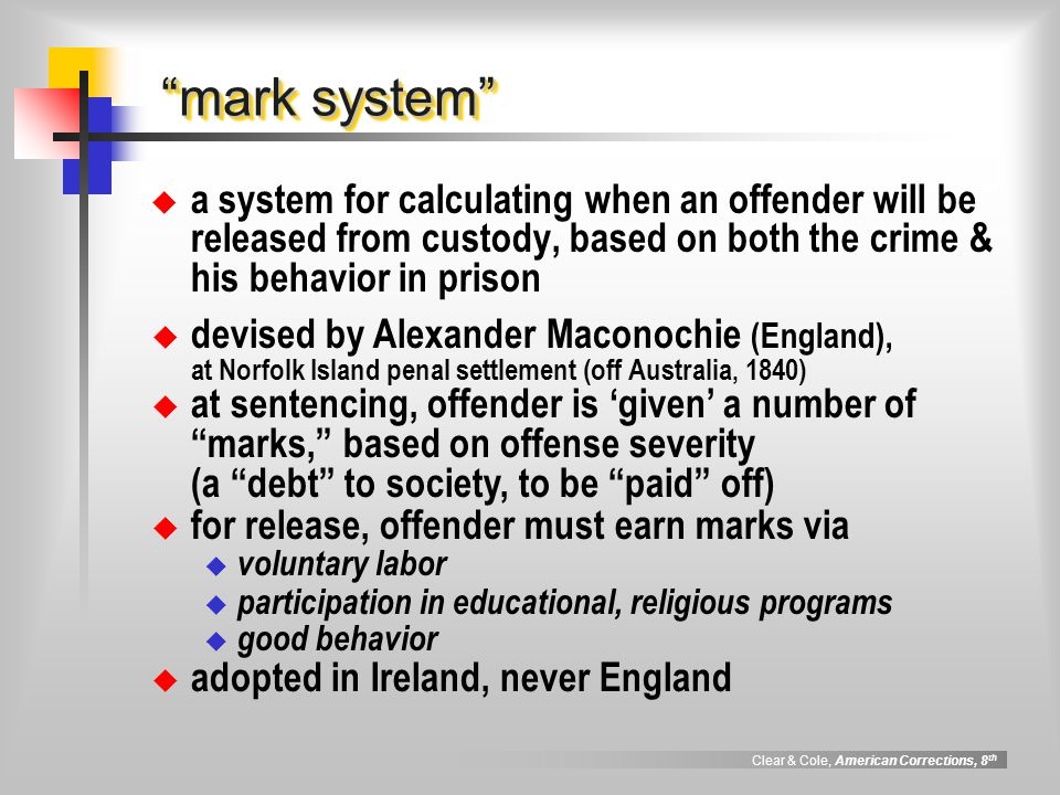 mark system a system for calculating when an offender will be released from custody, based on both the crime & his behavior in prison.