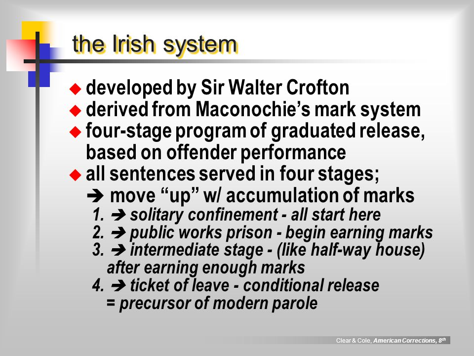 the Irish system developed by Sir Walter Crofton