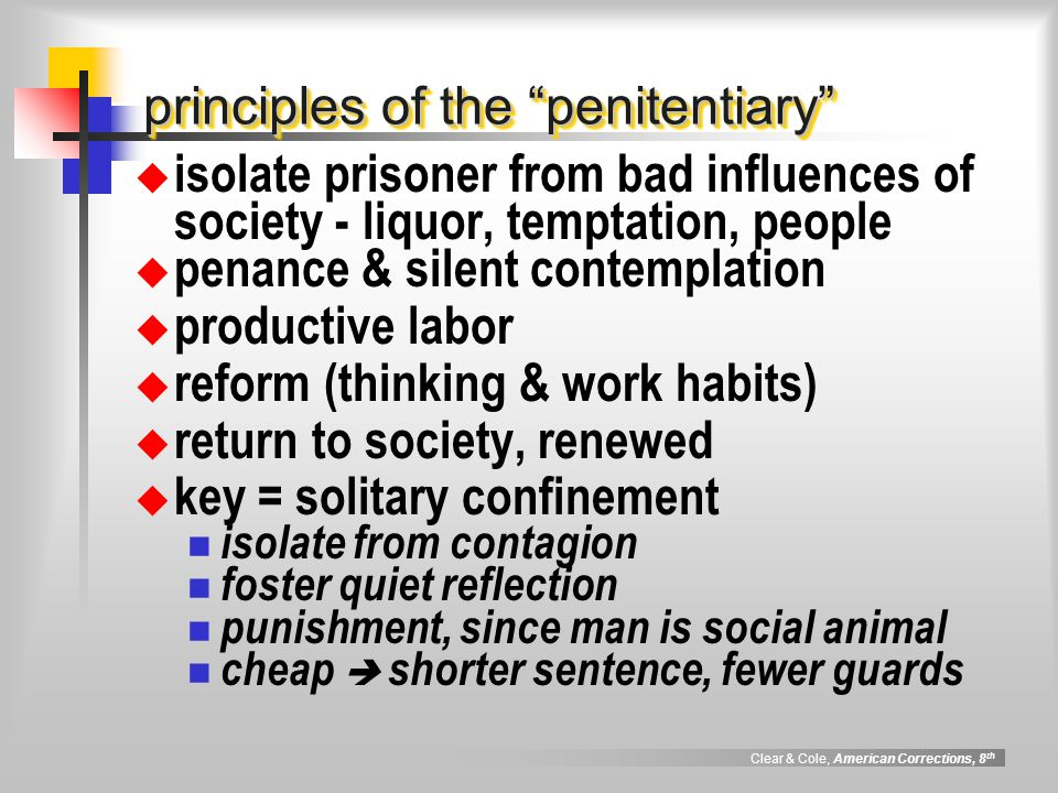 principles of the penitentiary