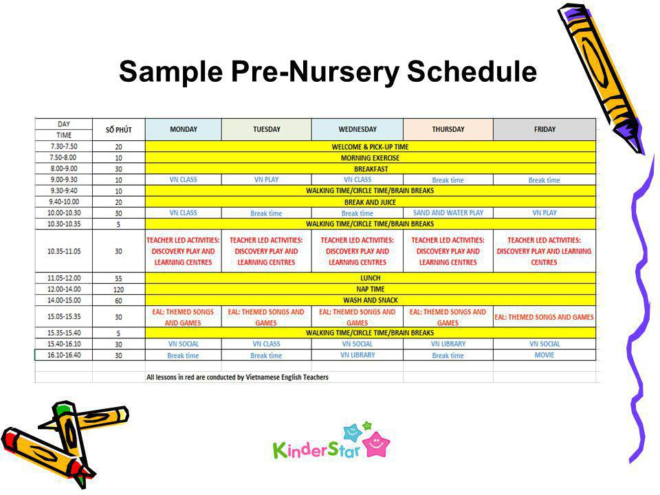 Sample Pre-Nursery Schedule