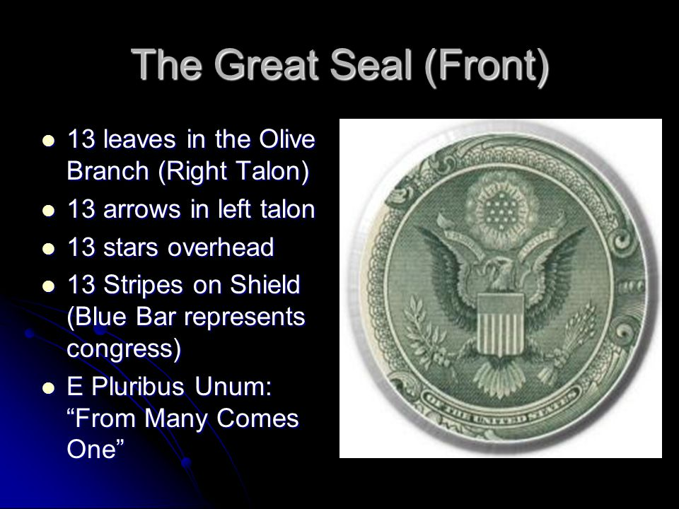 The Great Seal (Front) 13 leaves in the Olive Branch (Right Talon)
