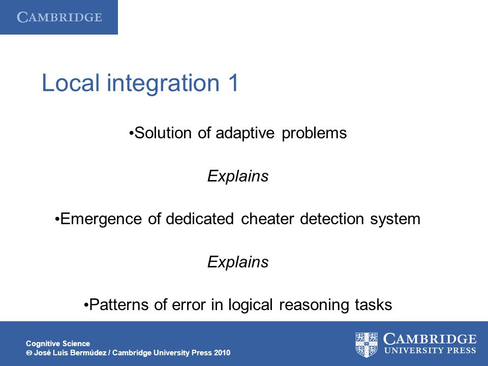 Local integration 1 Solution of adaptive problems Explains