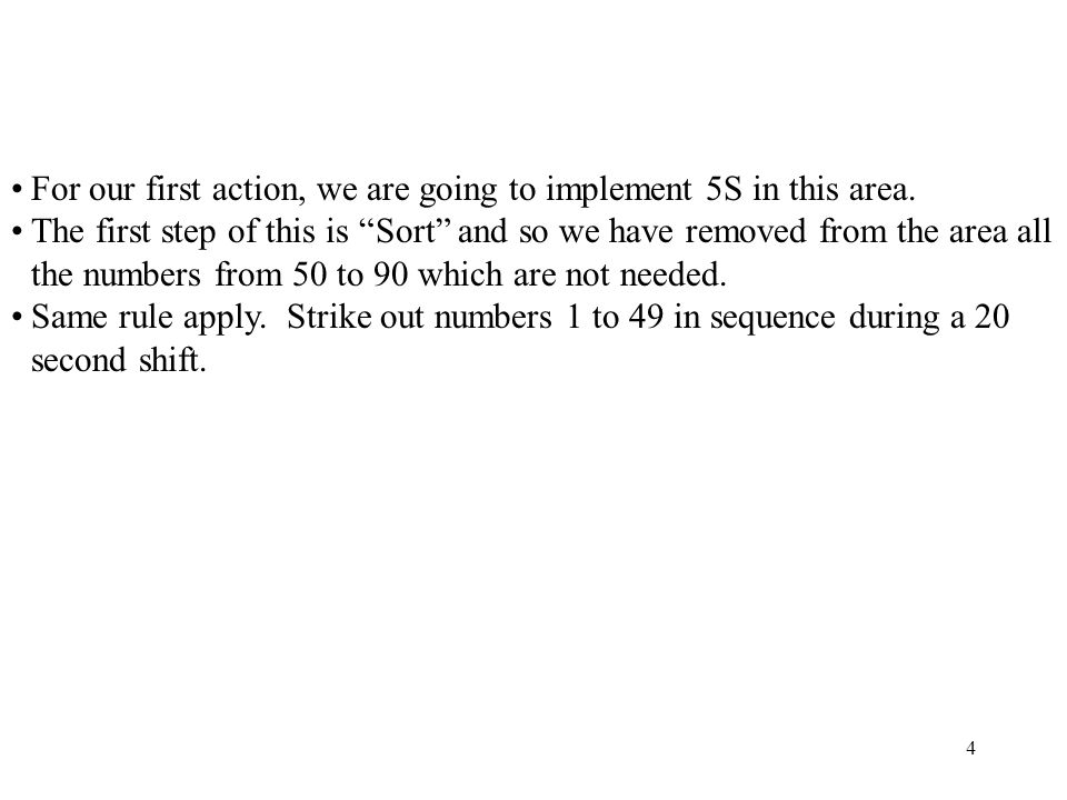 For our first action, we are going to implement 5S in this area.