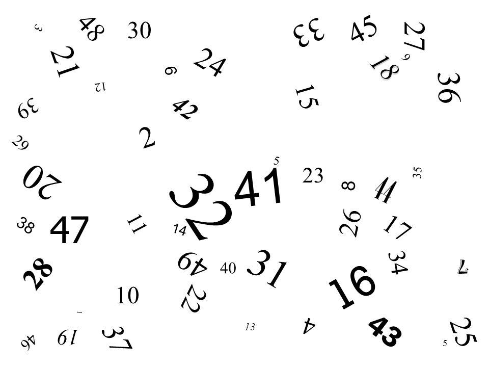 48 45. 30. 33. 3. 27. 21. 24. 18. 9. 6. 36. 12. 15. 42. 39. 2. 29. 5. 41. 20. 23.