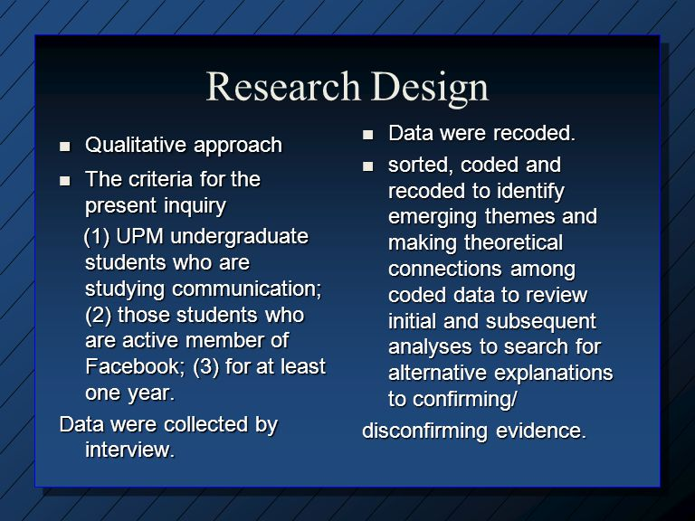 Research Design Qualitative approach