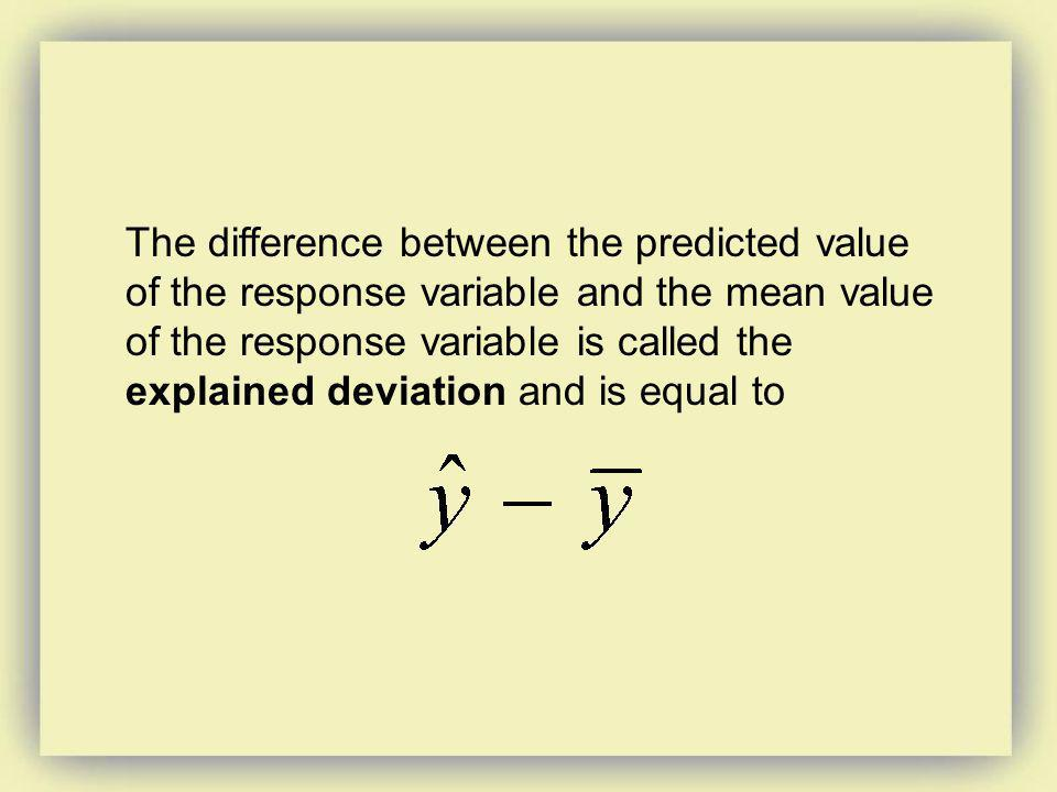 The difference between the predicted value of the response variable and the mean value of the response variable is called the explained deviation and is equal to
