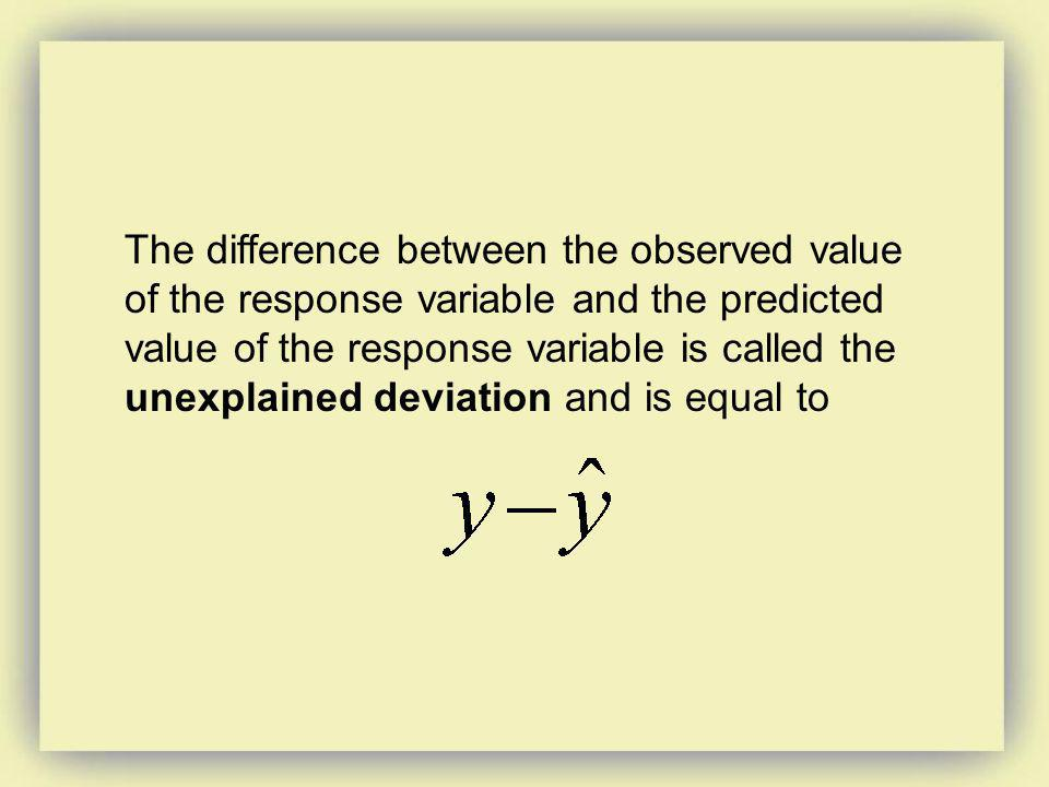 The difference between the observed value of the response variable and the predicted value of the response variable is called the unexplained deviation and is equal to
