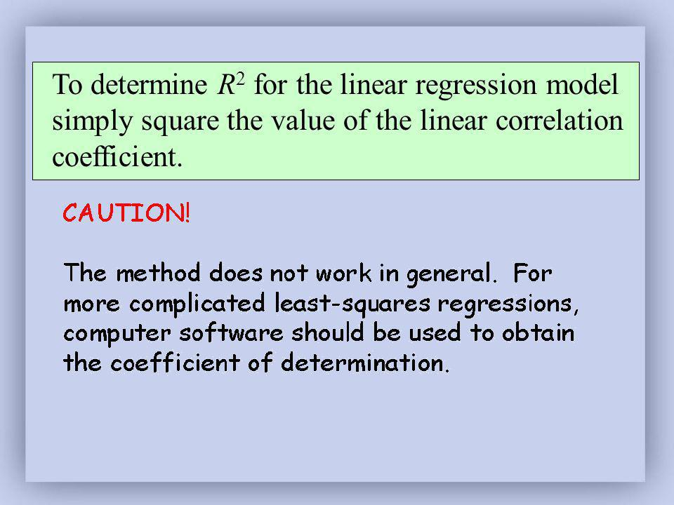 To determine R2 for the linear regression model simply square the value of the linear correlation coefficient.