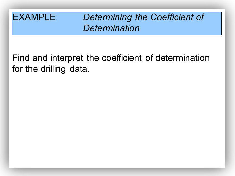 EXAMPLE Determining the Coefficient of Determination