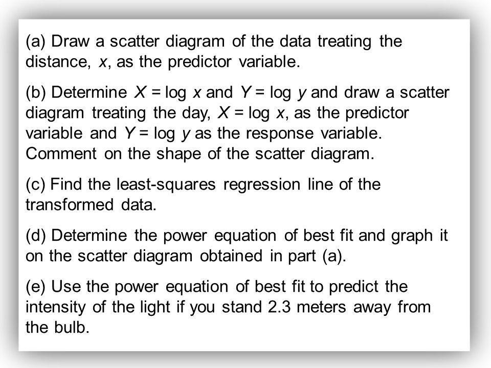 (a) Draw a scatter diagram of the data treating the distance, x, as the predictor variable.