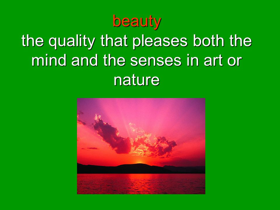 beauty the quality that pleases both the mind and the senses in art or nature
