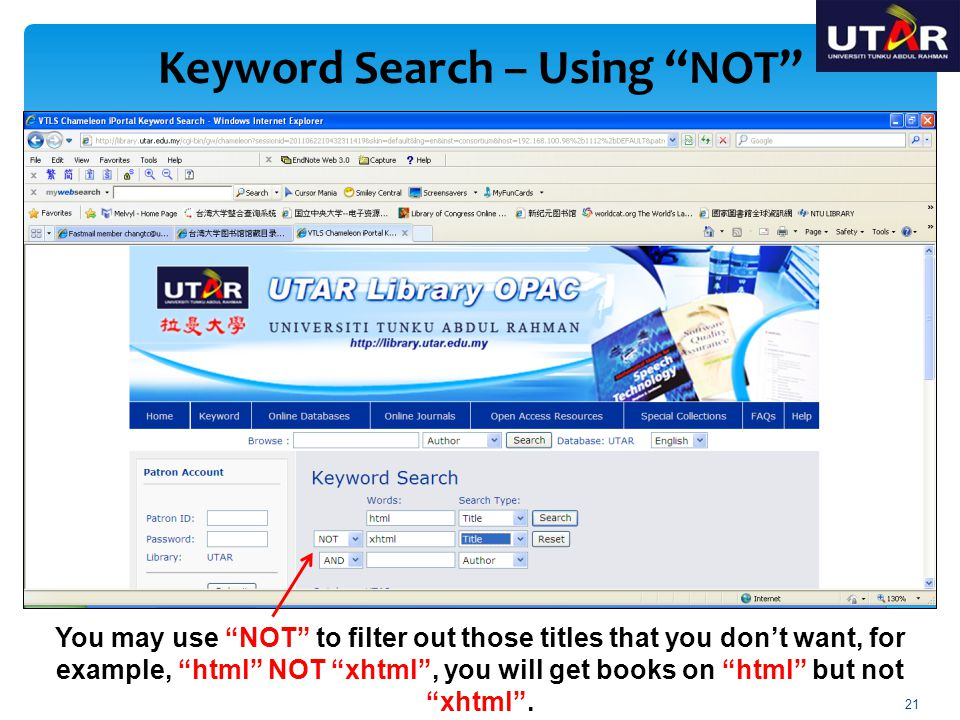 Keyword Search – Using NOT