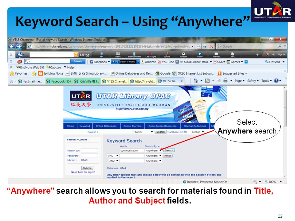 Keyword Search – Using Anywhere