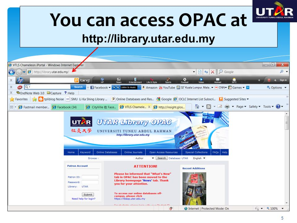 You can access OPAC at http://library.utar.edu.my