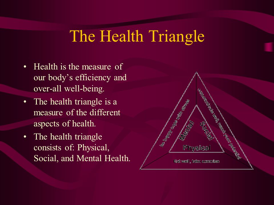 The Health Triangle Health is the measure of our body's efficiency and over-all well-being.