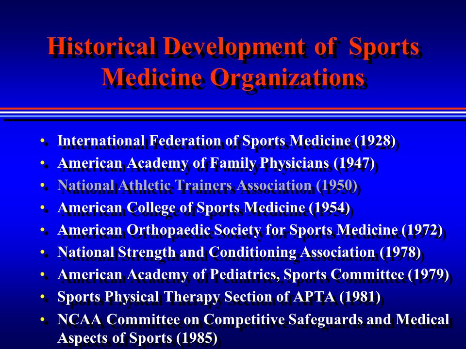 Historical Development of Sports Medicine Organizations