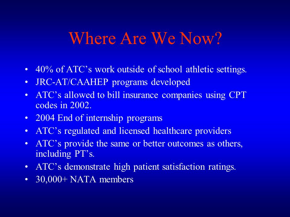 Where Are We Now 40% of ATC's work outside of school athletic settings. JRC-AT/CAAHEP programs developed.