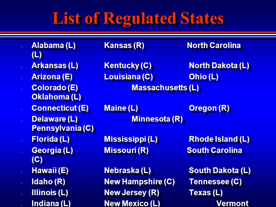 List of Regulated States