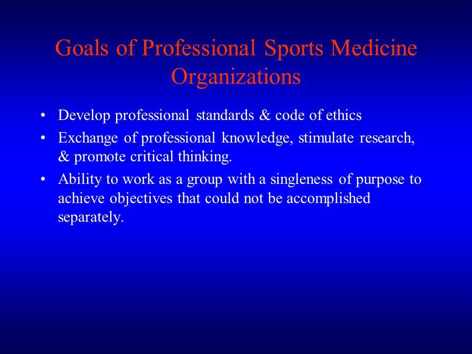 Goals of Professional Sports Medicine Organizations