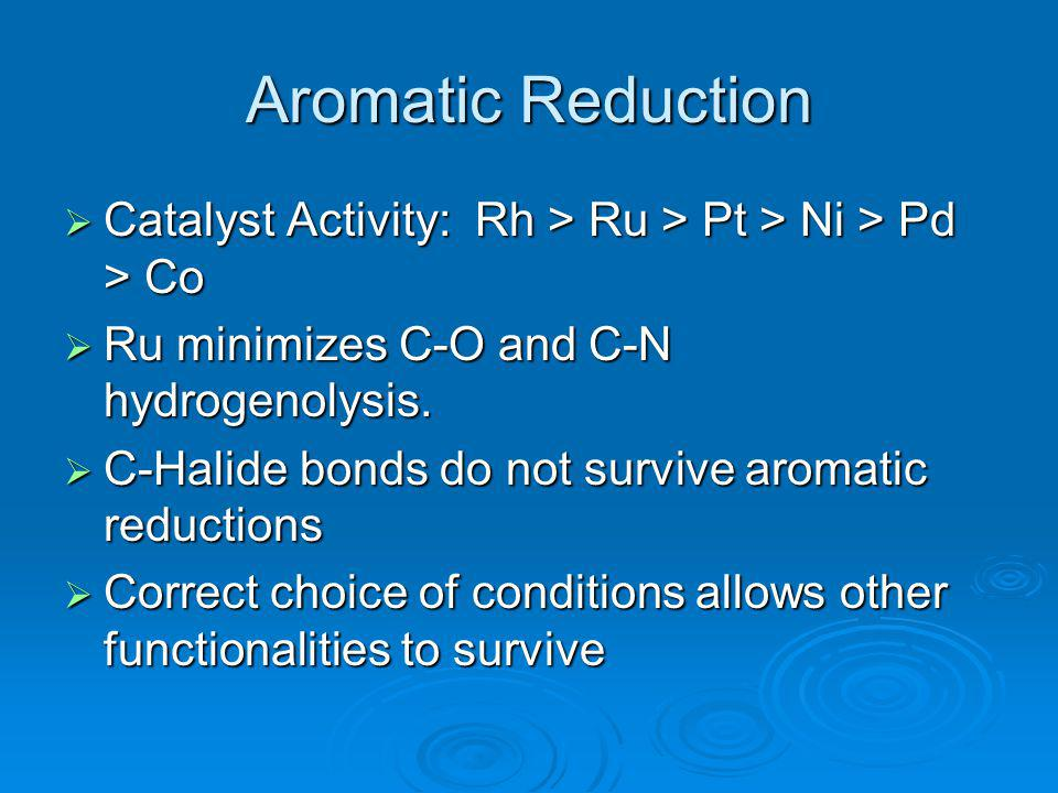 Aromatic Reduction Catalyst Activity: Rh > Ru > Pt > Ni > Pd > Co. Ru minimizes C-O and C-N hydrogenolysis.