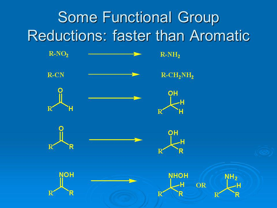 Some Functional Group Reductions: faster than Aromatic