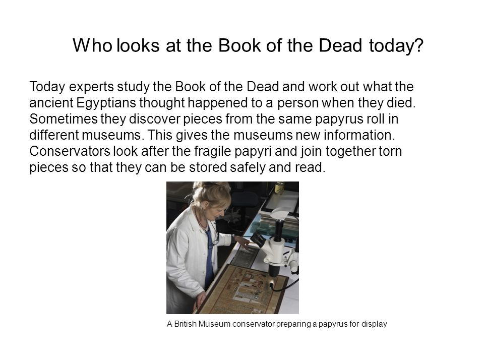 Who looks at the Book of the Dead today