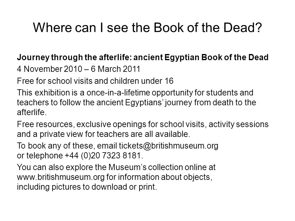 Where can I see the Book of the Dead
