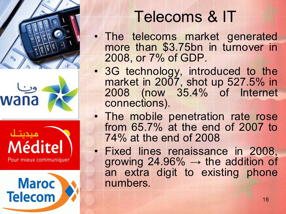 Telecoms & IT The telecoms market generated more than $3.75bn in turnover in 2008, or 7% of GDP.