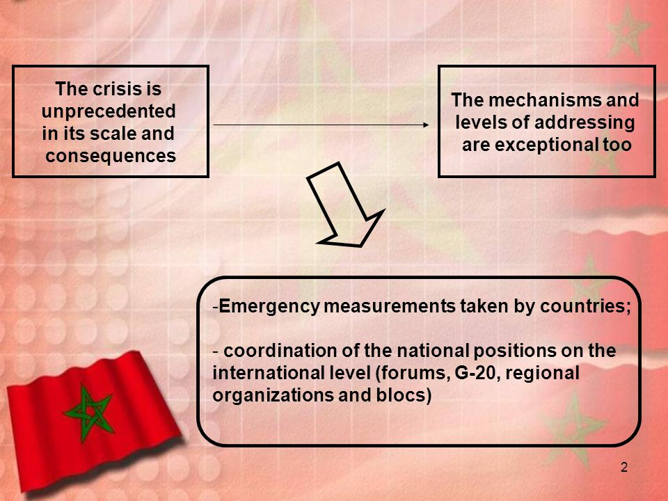 The crisis is unprecedented. in its scale and. consequences. The mechanisms and. levels of addressing.