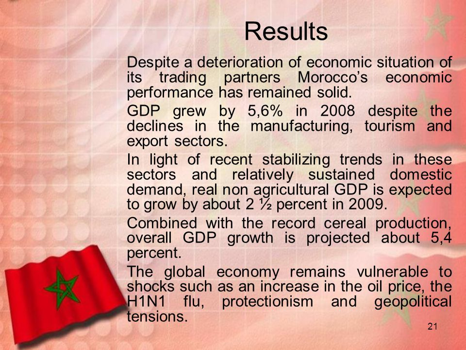 Results Despite a deterioration of economic situation of its trading partners Morocco's economic performance has remained solid.