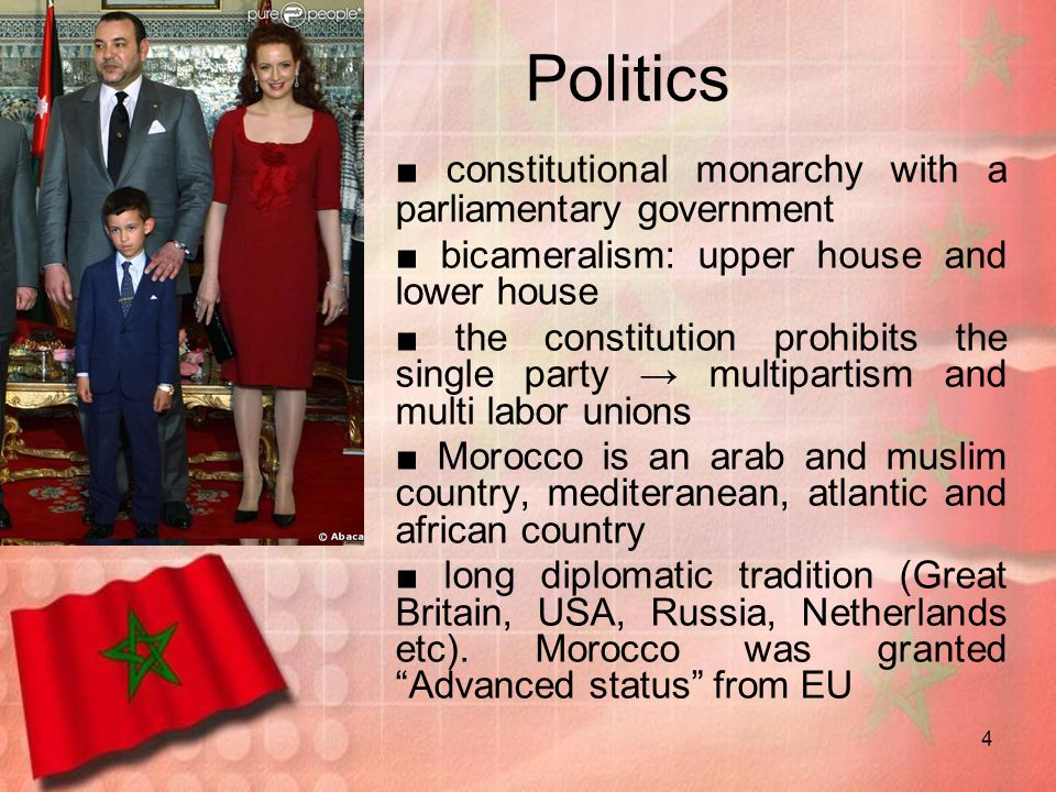Politics ■ constitutional monarchy with a parliamentary government