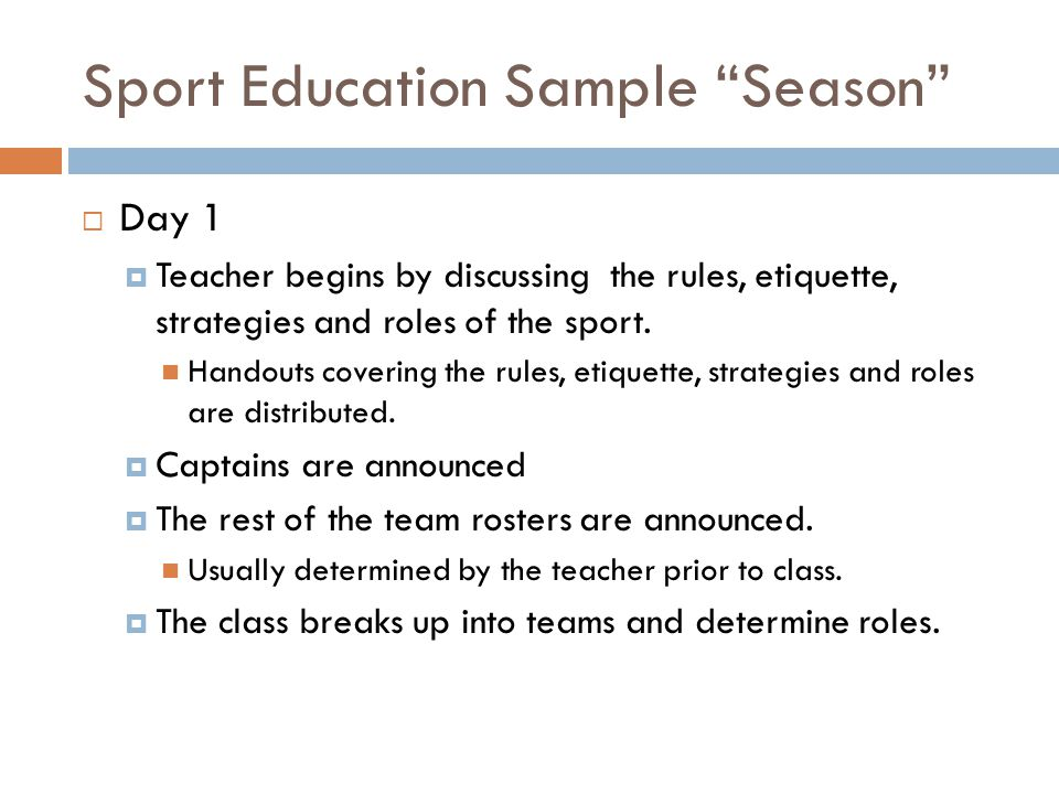 Sport Education Sample Season