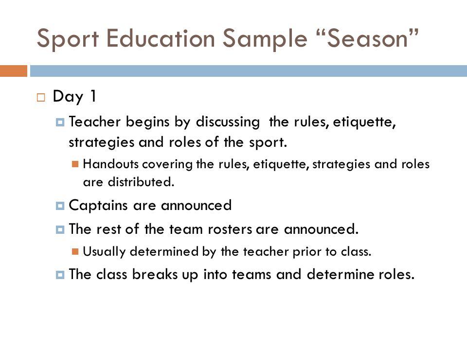 Sport Education Sample Season